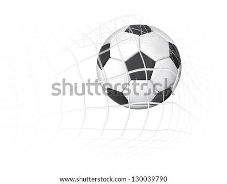 Soccer ball in the goal net eps10 illustration - stock vector