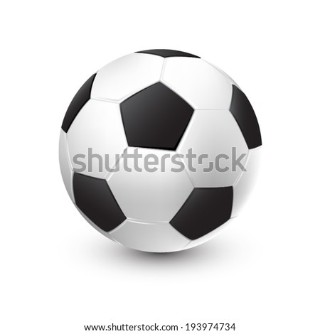 Soccer ball isolated on white background with shadow. EPS 10 - stock vector