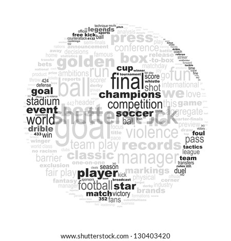 Soccer ball made with words concept - easy colors change by selecting same fill color - stock vector