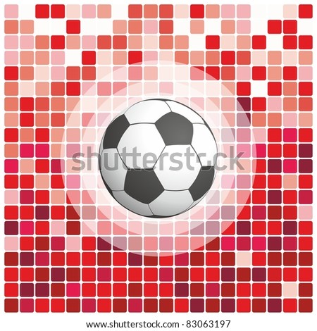 soccer ball on a red background - stock vector