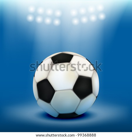 Soccer ball on blue floor, illuminated by floodlights. Realistic vector. - stock vector