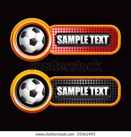 soccer ball on colored diamond banners - stock vector
