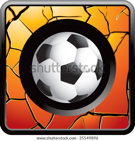 soccer ball on cracked web icon colored gold - stock vector