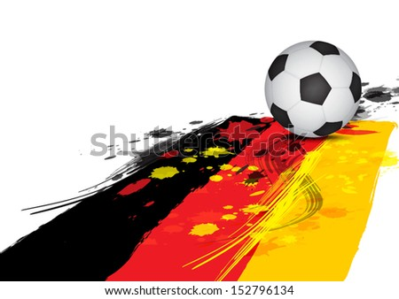 soccer ball on Germany flag : ink paint style - stock vector