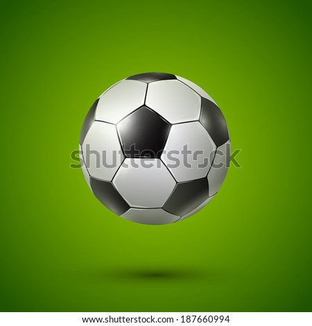 Soccer ball on green background, Vector realistic illustration. - stock vector