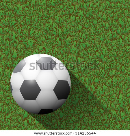 Soccer ball on green field and long shadows.