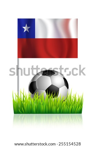 Soccer Ball on green grass field with flag of Chile - stock vector