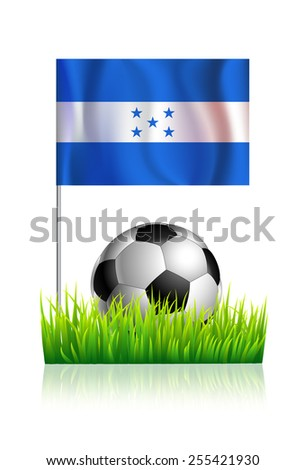 Soccer Ball on green grass field with flag of Honduras - stock vector