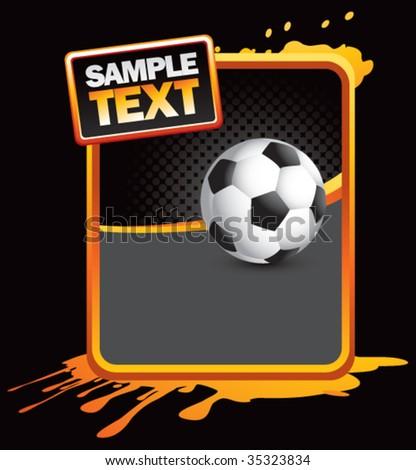 soccer ball on grunge style splat background - stock vector