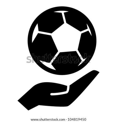 Soccer ball on hand, black vector icon - stock vector