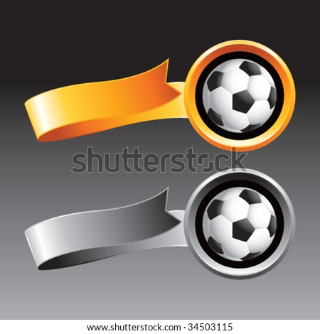 soccer ball on ribbon banners - stock vector
