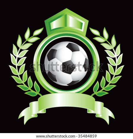 soccer ball on royal floral crest - stock vector
