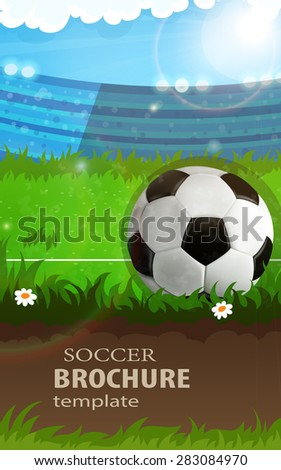 Soccer ball on stadium field. Abstract sport background - stock vector