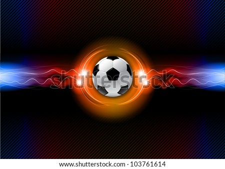 soccer ball on the flashing background - stock vector