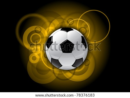soccer ball on the gold background - stock vector