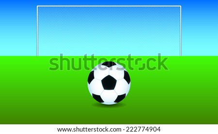 Soccer ball on the play field - stock vector