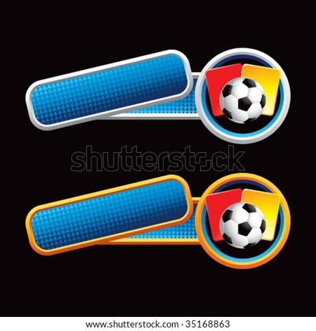 soccer ball on tilted banners - stock vector