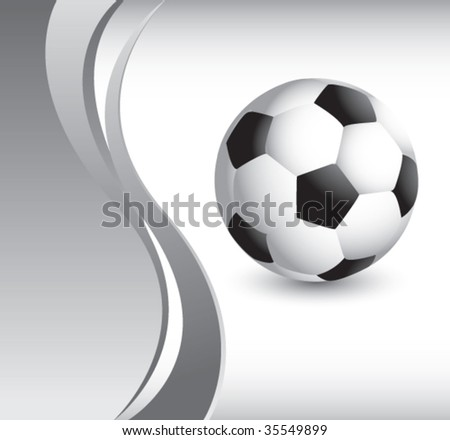 soccer ball on vertical wave background - stock vector