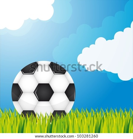 soccer ball over grass and sky background. vector illustration - stock vector