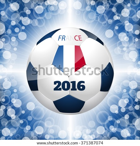 Soccer ball poster design with bursting blue background and french flag - stock vector