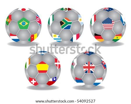 soccer ball set, vector - stock vector