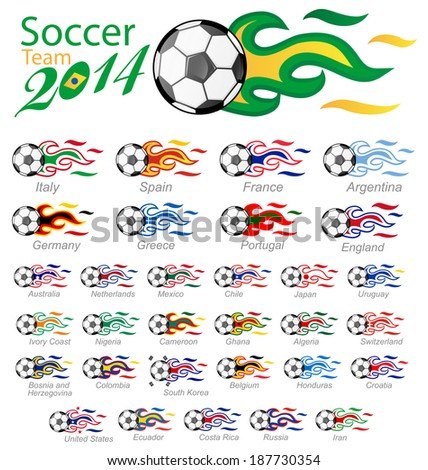 soccer ball set with flag flame  - stock vector