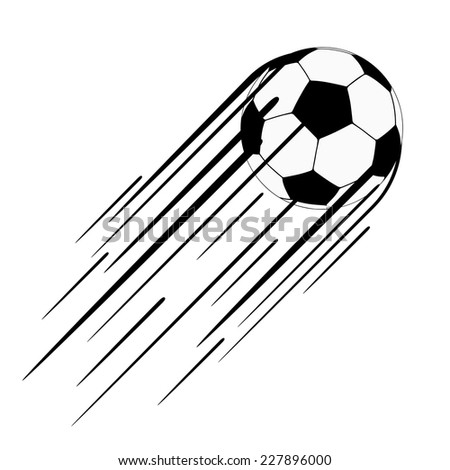 Soccer ball  with a long speed trail behind it, vector illustration - stock vector