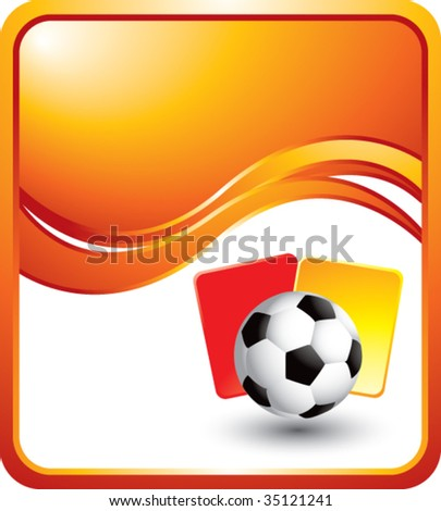 soccer ball with red and yellow cards on orange wave background - stock vector