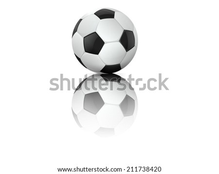 Soccer ball with reflection. Vector illustration.  - stock vector