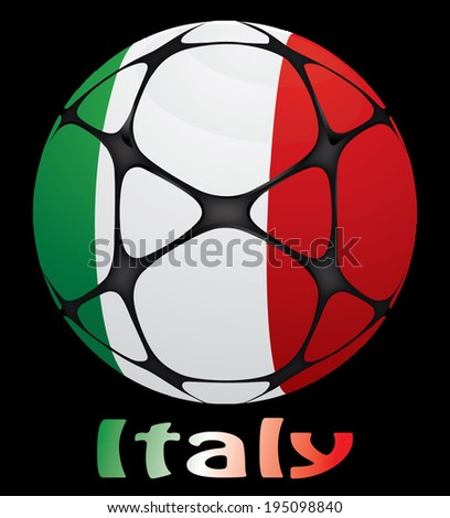 soccer ball with the flag of Italy - stock vector
