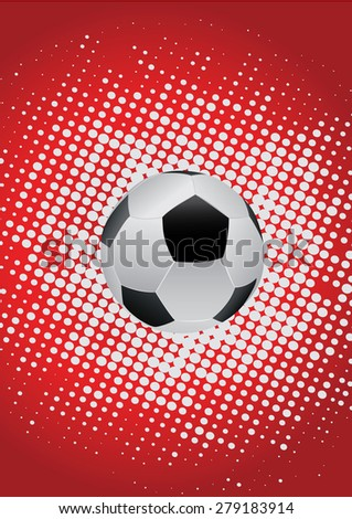 soccer ball with white dots and red background - stock vector