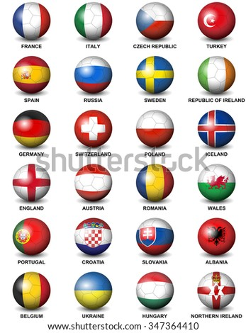 soccer balls concerning flags of european countries participating to the final tournament of Euro 2016 football championship - stock vector