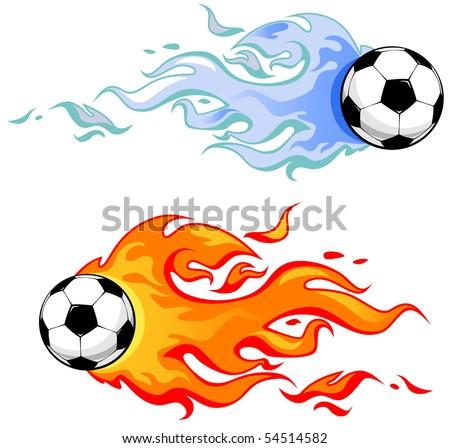 soccer balls in flame - stock vector
