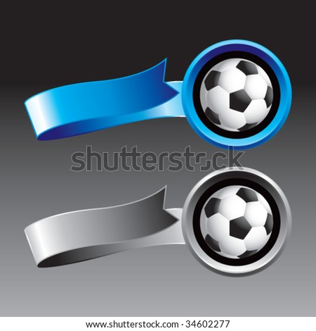soccer balls on ribbon banners - stock vector
