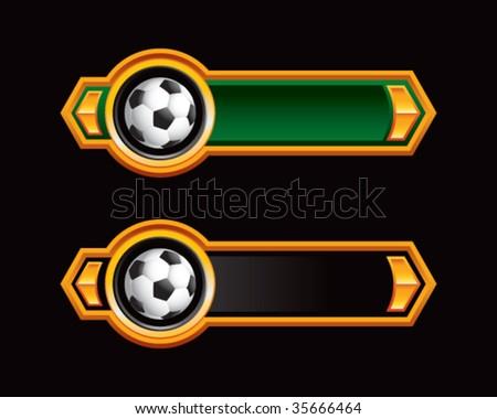 soccer balls on royal horizontal banners - stock vector