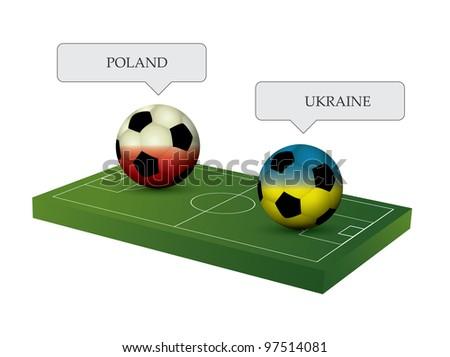 Soccer balls with soccer field - stock vector