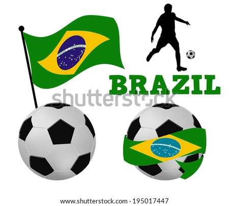 Soccer balls wrapped in ribbon with brazilian flag and player silhouette on white, vector illustration