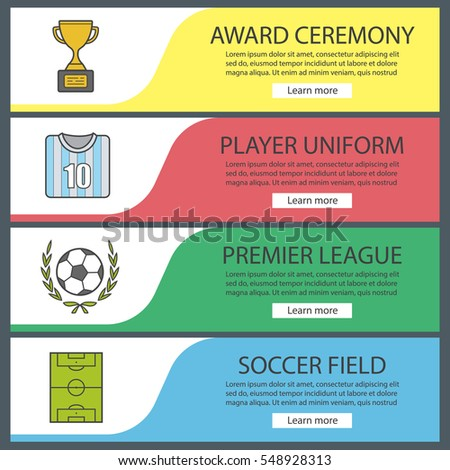 Soccer Banner Templates Set Football Player Stock Vector 548928313 ...