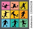 Soccer Boy Silhouettes 1. Very smooth and detail vector silhouettes. Easy to change color. Use Adobe Illustrator 8 or higher to edit or change color. - stock vector