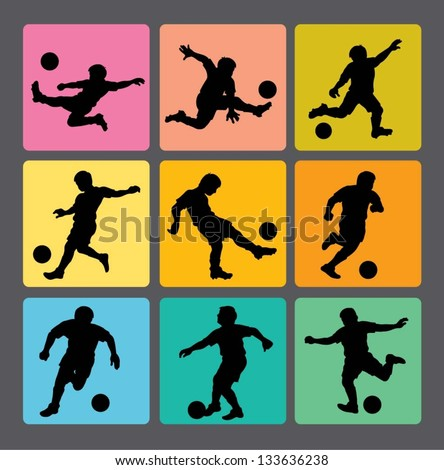 Soccer Boy Silhouettes 1. Very smooth and detail vector silhouettes. Easy to change color. Use Adobe Illustrator 8 or higher to edit or change color.