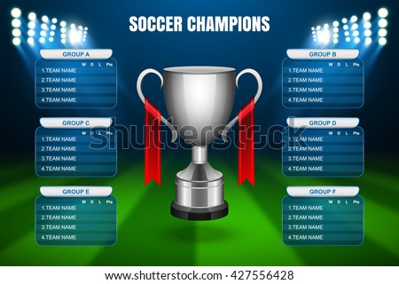 Soccer Champions Final Scoreboard Template, Vector - stock vector
