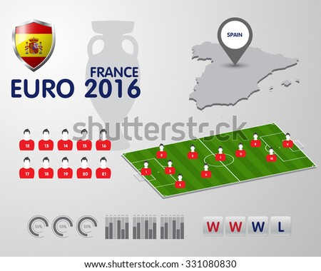 Soccer Championship 2016 EURO infographic elements, football vector background - stock vector