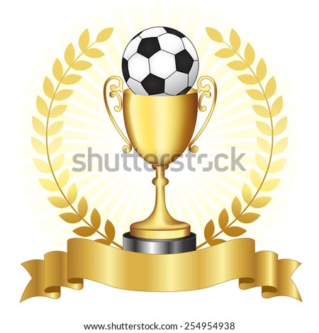 Soccer championship gold trophy with golden banner and laurel on glowing background - stock vector