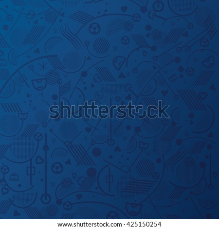 Soccer. Championship soccer abstract Blue background with different abstract shapes. Soccer geometric pattern. 2016 Vector Illustration. - stock vector