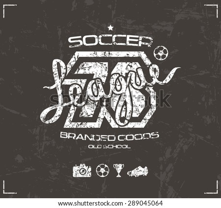 Soccer club emblem in retro style. Graphic design for t-shirt. White  print on brown background - stock vector