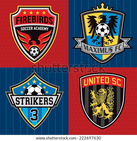 Soccer club emblem patches - stock vector