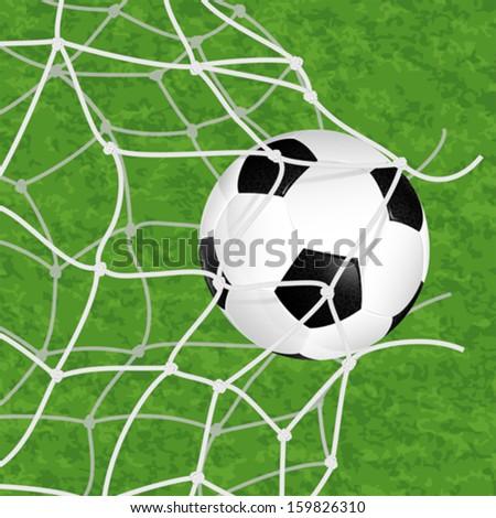 Soccer Concept - Goal. Soccer Ball in Net Torn on textured grass background, vector illustration - stock vector