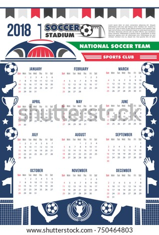 Soccer Cup Calendar 2018 Template Poster Stock Vector 2018