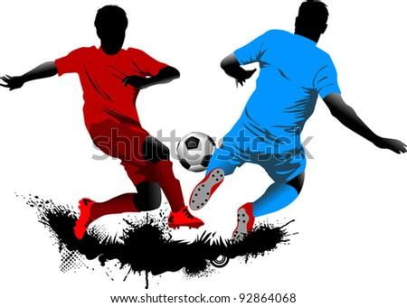 soccer design element; green background (vector-illustration); - stock vector