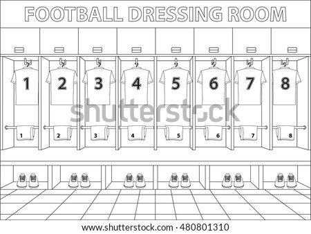 Soccer Dressing Room Football Drawing Style Stock Vector 480801310